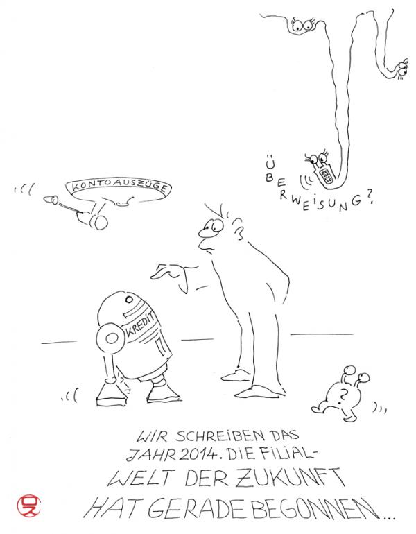 best banking filialwelt der zukunft cartoons by roth image