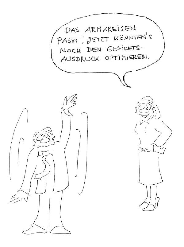 betriebliches Gesundheitsmanagement Übung Armkreisen Image Cartoon