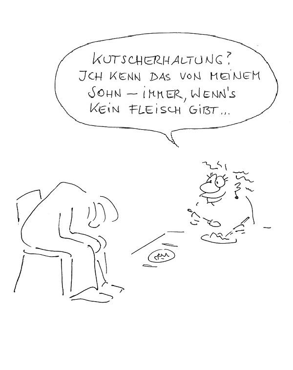 Betriebliches Gesundheitsmanagement Übung Kutscherhaltung Cartoon Image