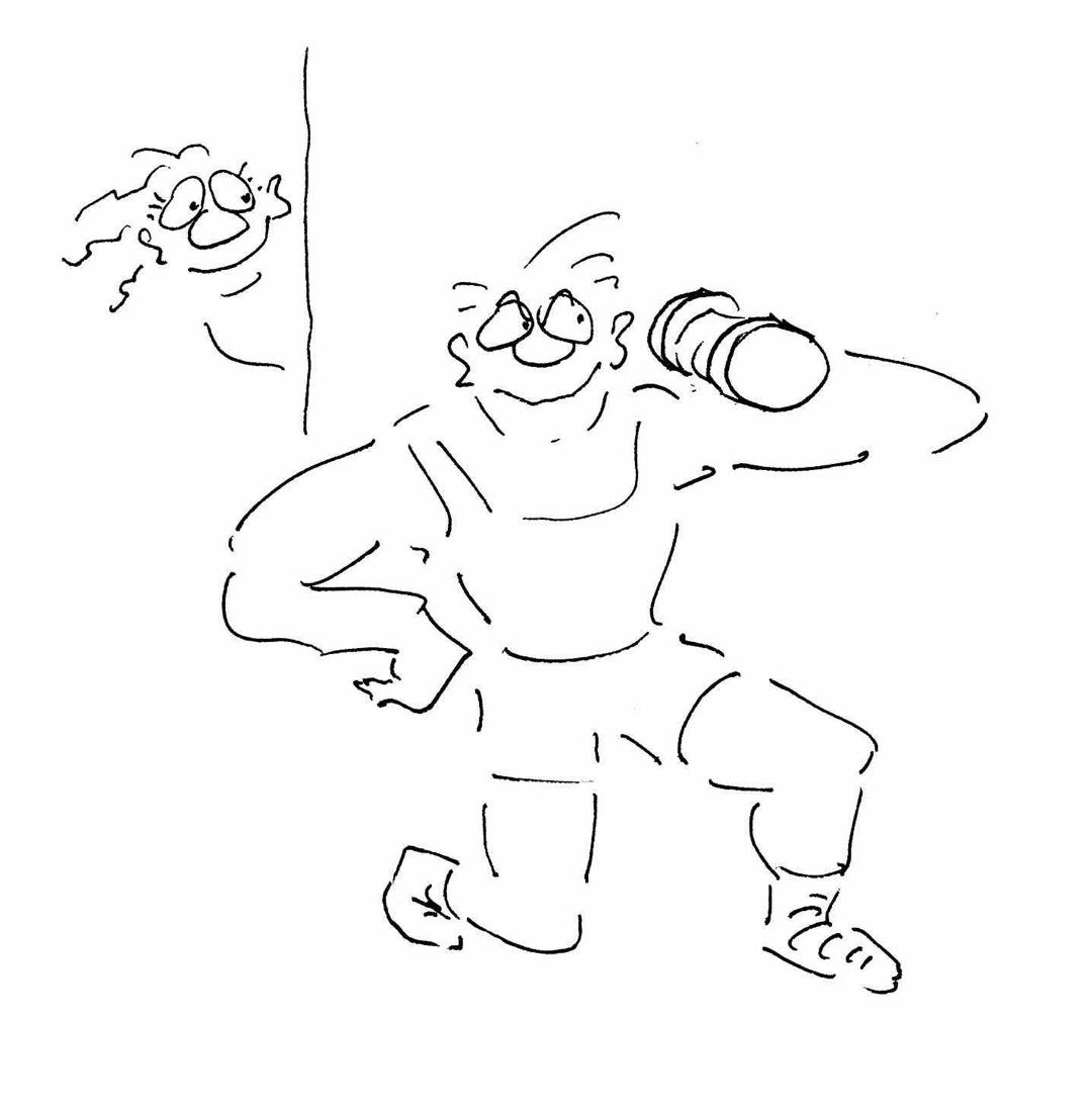 Fitness Cartoon Bild nachher