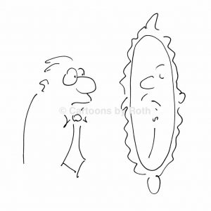 Selbstreflexion-Cartoonfigur-Mann