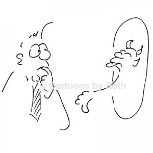 Cartoon Selbstreflexion als Führungskompetenz