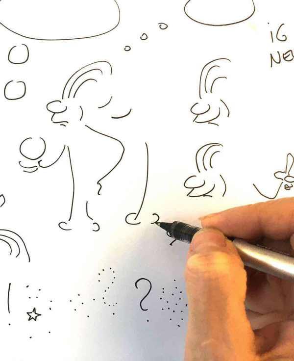 Figuren Zeichnen Character Skizzen für ÖBB Ideenwerkstatt Erklärvideo