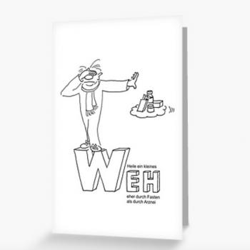 Grußkarte mit Fastencartoon Heilfasten