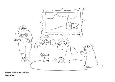 Wiener Kaffeespezialität Almkaffee Cartoon Shop Produktbild