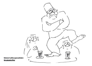 Wiener Kaffeespezialität Kosakenkaffee Cartoon Shop Produktbild