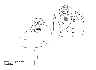 Wiener Kaffeespezialität Zarenkaffee Cartoon Shop Produktbild