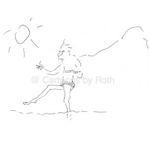 Am Strand, wo die Steine sind - der Storch Cartoon Shop Produktbild