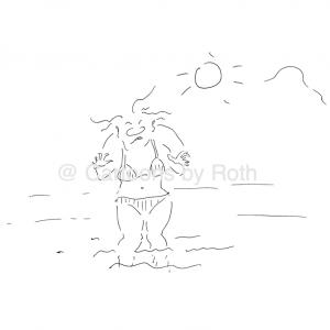 Am Strand, wo die Steine sind - da musst du jetzt durch Cartoon Shop Produktbild