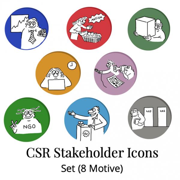 CSR Stakeholder Cartoon Icons Cartoon Shop Produktbild