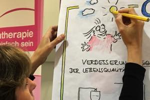 Barbara Roth, Business Cartoonistin und Business Illustrator, beim Live Zeichnen am Messestand