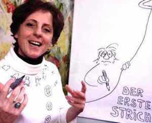 Barbara Roth beim Online Kurs am Flipchart