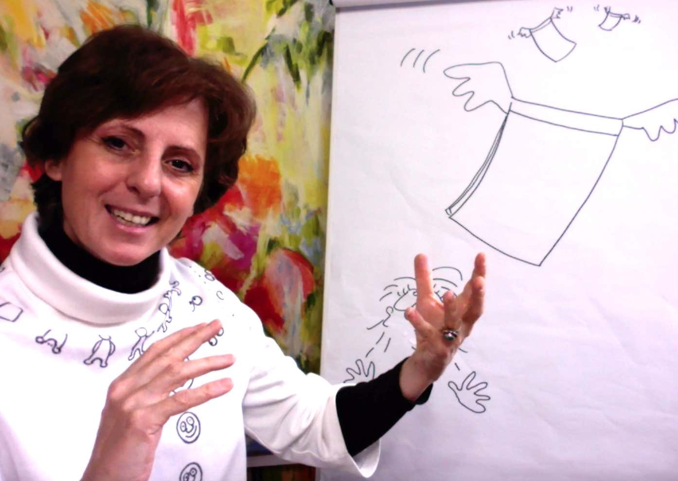 Business Trainings und Online-Kurs mit Barbara Roth am Flipchart