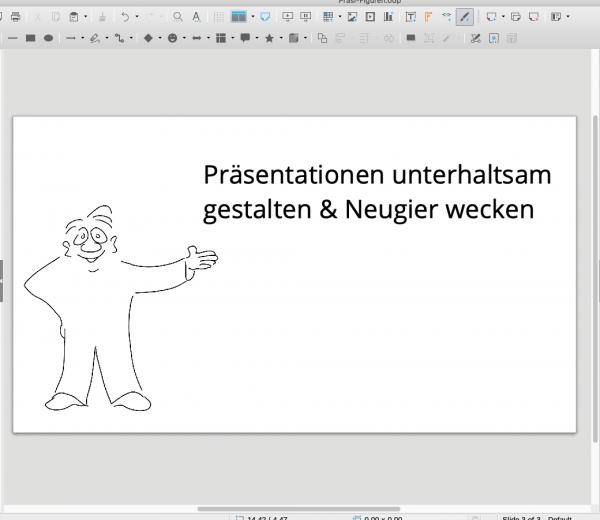 Cartoon Figuren in Präsentationen einsetzen Mann deutet Galeriebild