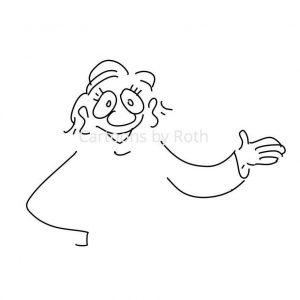 Cartoonfigur deutet