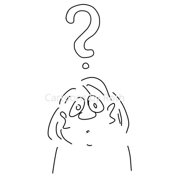 Fragezeichen - Frau Cartoonfigur im Cartoon Onlineshop kaufen und downloaden