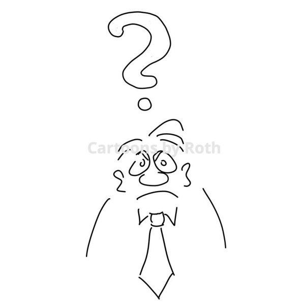 Cartoonfigur Fragezeichen (Mann)