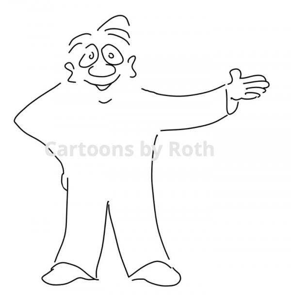 Cartoonfigur Mann deutet Shop Imagebild